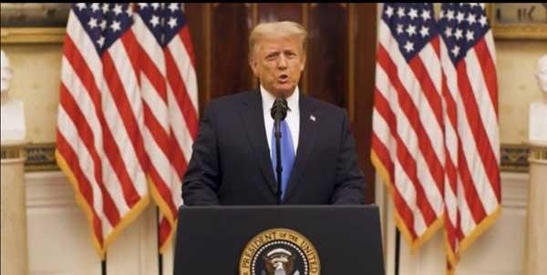 آخرین سخنرانی ترامپ قبل از تحلیف جو بایدن ( عکس )