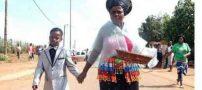 ازدواج جنجالی پسر 8 ساله با زن 60 ساله + عکس