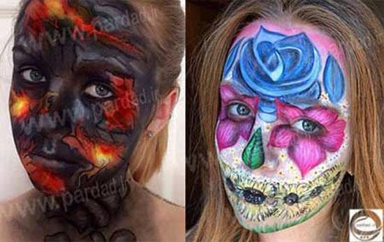 گریم های هنرمندانه این دختر با لوازم آرایشی