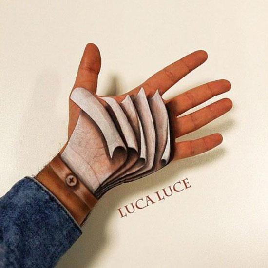 تصاویری از نقاشی های خلاقانه سه بعدی کف دست