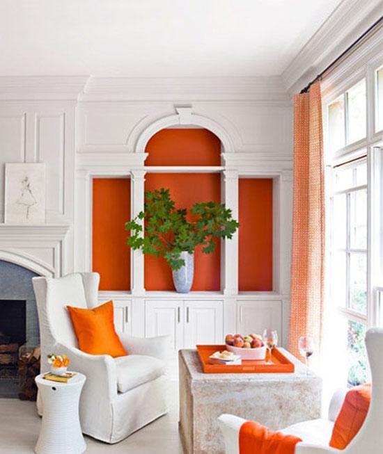 عکس های زیبا از دکوراسیون سفید و نارنجی