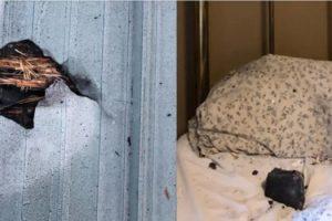برخورد شهابسنگ به تختخواب یک خانم در هنگام همخوابی با دوستش