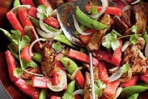 خوراک بیف و هندوانه به سبک جدید