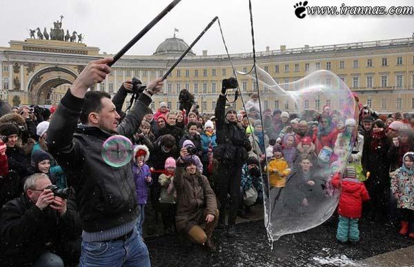 عکس های زیبا و دیدنی از جشنواره حباب ها در روسیه