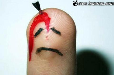 عکس های خنده دار از شكلک های بامزه با انگشت