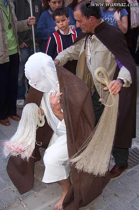 عکس های مراسم عجیب شلاق زنی برای بخشش گناه