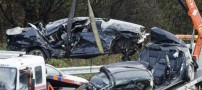 کورس مرگبار دو خودرو با سرعت 210 کیلومتر (تصاویر)