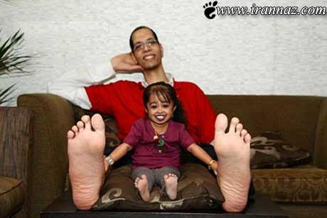 کوچکترین زن دنیا در مقابل بزرگترین مرد دنیا (عکس)