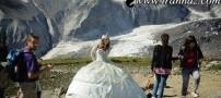 لباس بسیار جالب این خانم برای کوهنوردی (عکس)