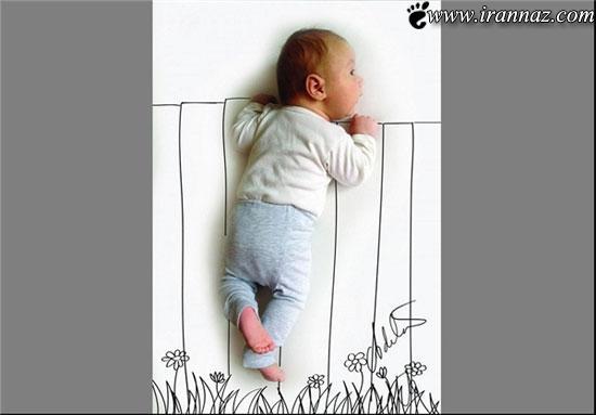 ببینید این مادر خلاق چه بر سز نوزادش آورده (تصاویر)