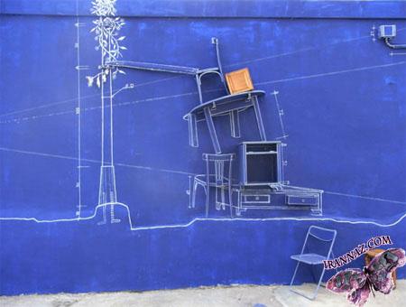 عکسهایی از نقاشی های سه بعدی عجیب روی دیوار