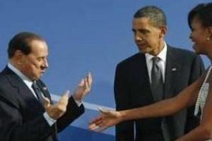 """عصبانیت و ممانعت\""""اوباما\"""" از روبوسی همسرش با برلوسکونی!"""