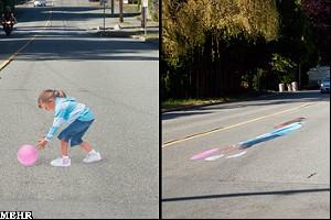 کودکان سه بعدی در خیابانها برای کنترل سرعت!