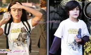 بازیگر زن معروف هالیوود و پوشیدن لباسهای پسر 8 ساله اش+عکس
