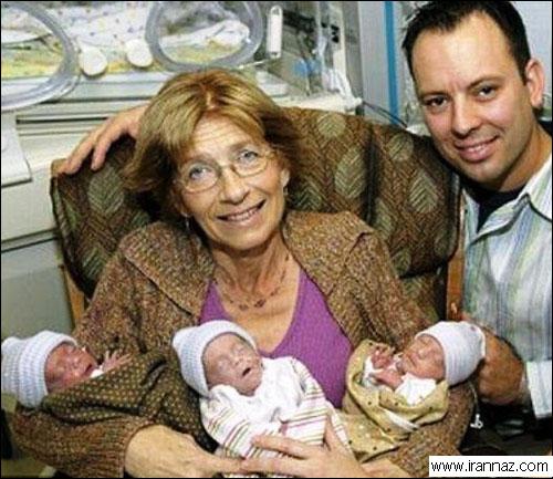 عکسهای زنی که درسن 60 سالگی 3 قلو بدنیا آورد