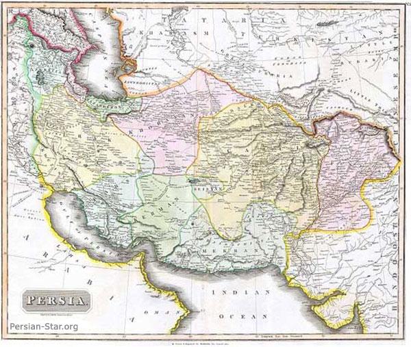 نقشه جغرافیایی ایران در 196 سال پیش