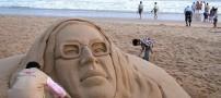 عکسهایی از مجسمه های ساخته شده از شنهای ساحلی
