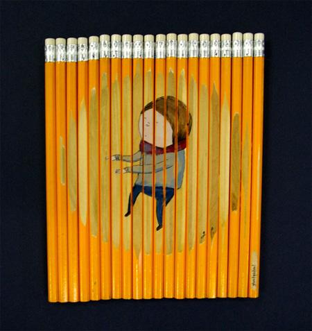 نقاشی های بسیار زیبا با مداد رنگی روی مدادرنگی!