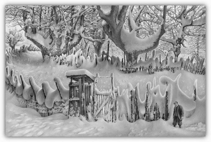 طراحی باور نکردنی مناظر زیبای برفی با مداد
