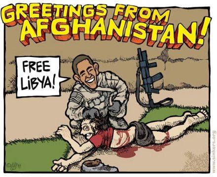 کاریکاتوری از تجاوز اوباما به یک افغانی