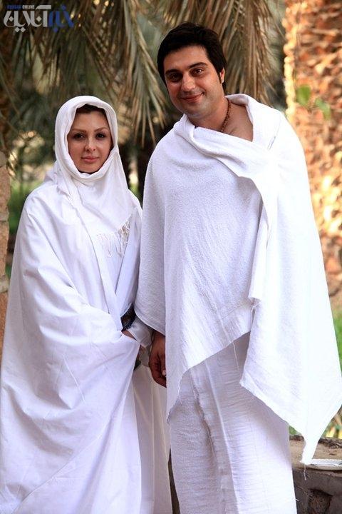 عکسی از نیوشا ضیغمی و همسرش در لباس احرام