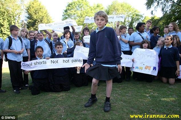 اعتراض جالب پسر با پوشیدن دامن (گزارش تصویری)