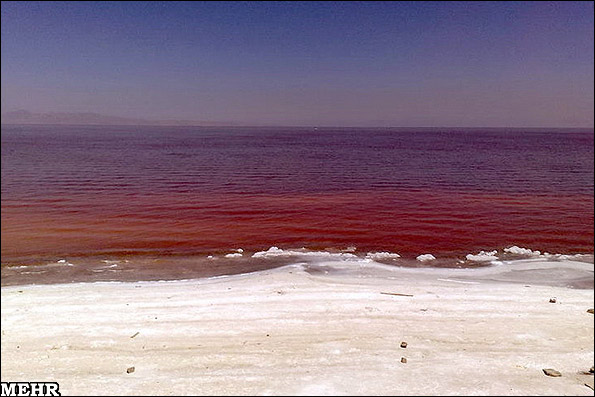 در اتفاقی غیرمنتظره؛دریاچه ارومیه سرخ شد!