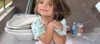 دختری زیبا با 5 سال سن و کارگری ساختمان +عکس