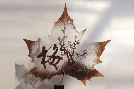 عکس هایی از نقاشی های بسیار زیبا روی برگ درخت