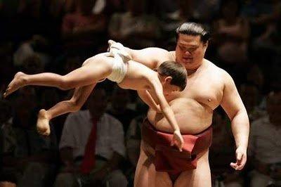عکس هایی خنده دار از کشتی فیل و فنجون ژاپنی