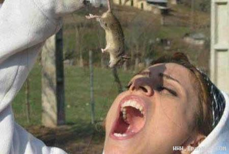 عکس جالب از دختری ایرانی که موش هم می خورد!!