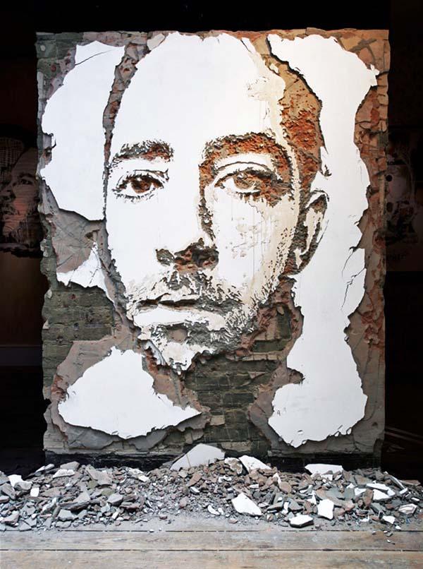 عکس هایی شگفت انگیز از نقاشی با تراشیدن دیوار