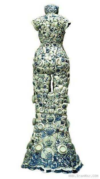 عکسهای جالب لباسهای ساخته شده از ظروف چینی
