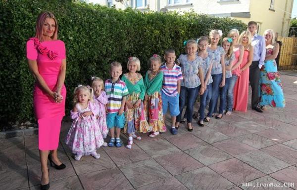 عکس های دیدنی از مادری مجرد به همراه 14 فرزند!