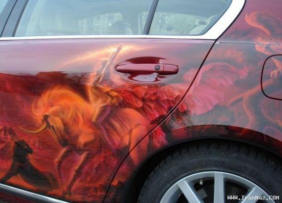 نقاشی های باور نکردنی و سه بعدی روی ماشین ها!