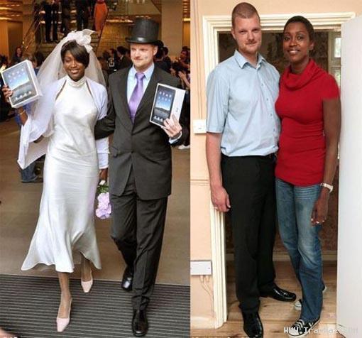 زن و شوهری با قد بسیار عجیب و باورنکردنی +عکس