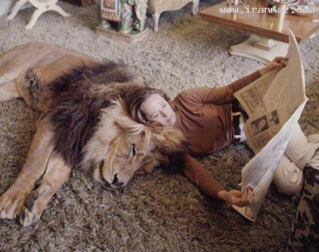 شجاعترین زن دنیا و زندگی با یک شیر دردنده +تصاویر