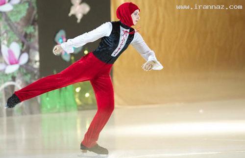 اولین زن محجبه در مسابقات اسکیت روی یخ! +تصاویر ، www.irannaz.com