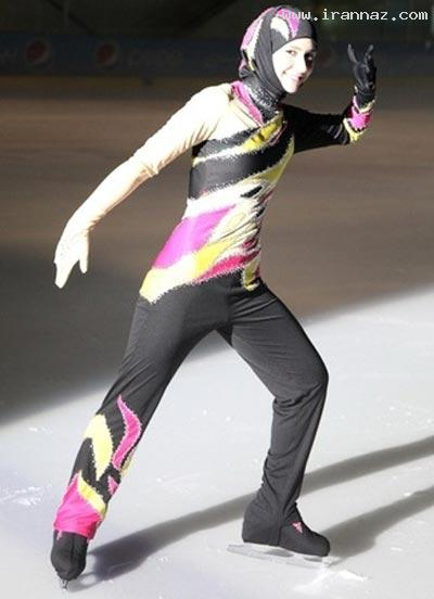 اولین زن محجبه در مسابقات اسکیت روی یخ! +تصاویر