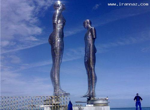 رونمایی از مرد و زنی عاشق با هفت متر قد!! +تصاویر