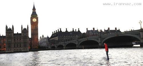 راه رفتن جادوگر انگلیسی برروی رودخانه تایمز +عکس