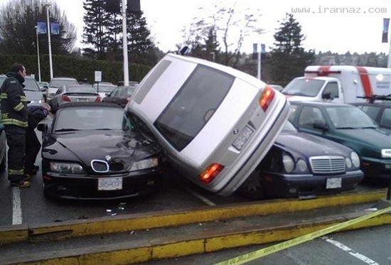 وقتی که یک خانم ماشین پارک می کند!! (فقط بخند)