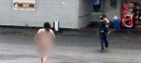 عریان شدن زنی در خیابان بعد از تنبیه پسرش +عکس