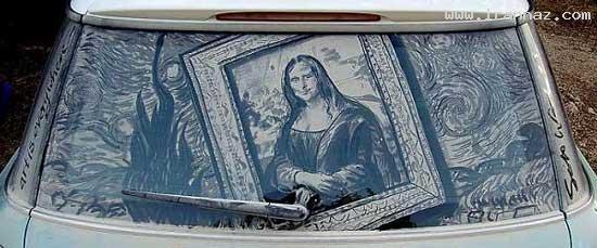 عکس هایی از هنرنمایی روی شیشه کثیف ماشینها