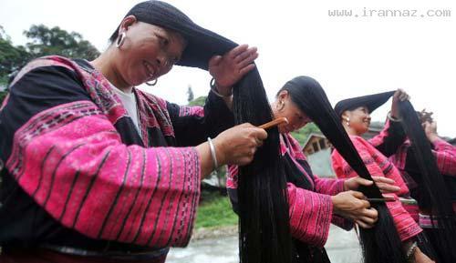 روستایی بسیار عجیب با مو بلندترین زنان دنیا +عکس