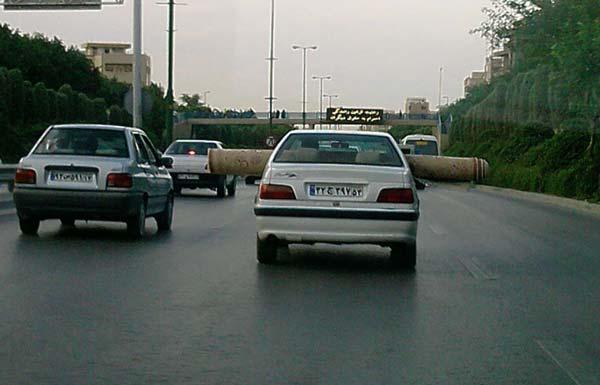 ابتکار خنده دار یک راننده ایرانی در حمل بار!! (تصویری)