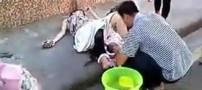 زایمان کردن باورنکردنی زنی در وسط خیابان!! +تصاویر