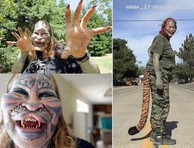 عکس های زنی که با جراحی خود را شبیه حیوان کرد