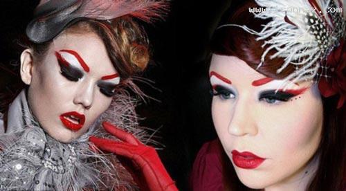خلق چهره های ترسناک توسط خانم آرایشگر (عکس)