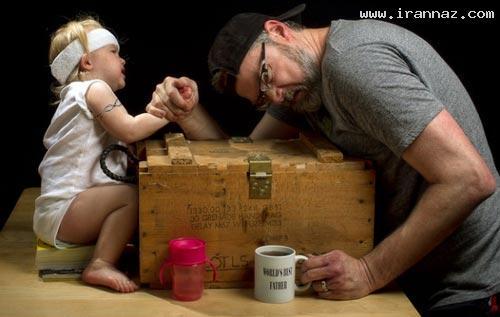 عکس هایی خنده دار و دیدنی از بهترین پدرهای دنیا! ، www.irannaz.com